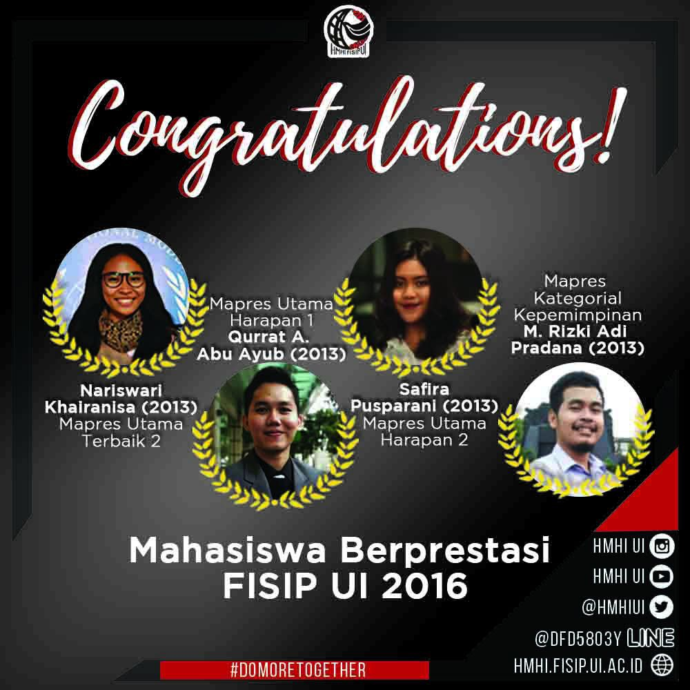 Apresiasi terhadap Mahasiswa Berprestasi FISIP UI 2016